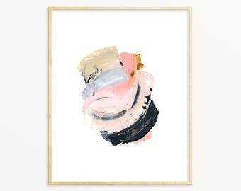Dorm Room Art Print. Modern Living Room Art. Pink / Gray Abstract Art Print. Soft Pink Modern Wall Art. Abstract Painting. Minimalist Decor.