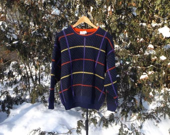 Vintage Crewneck Sweater, Knit, North Country Sweater, 90s Pullover, Colorblock, 80s Sweater, Slouchy Sweater, Aesthetic, Size XL Vintage
