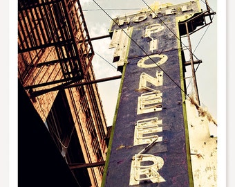 Pioneer - Neon Sign Photograph - Retro Hotel Sign Photo - Man Cave Art Print - Travel Photography - Old West Wyoming Photo - Western Art