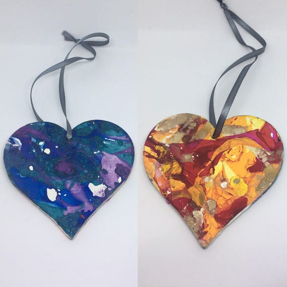 Watercolour Decorative Heart Northern Lights or Fire Heart Design 8cm Hanging Heart Christmas Decoration Hanging Heart Plaque