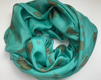 Teal Silk Scarf - Hand Dyed Silk Scarf - Square Scarf - Unique Silk Scarf - Green Scarf - Mom Gift - Women Accessory - Capsule Wardrobe