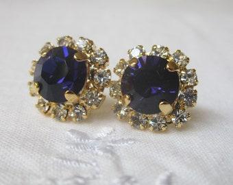 Dark Blue crystal stud earrings, Gold post earrings, swarovski Crystal earrings, Stud earrings, Bridal earrings, Bridesmaid gifts
