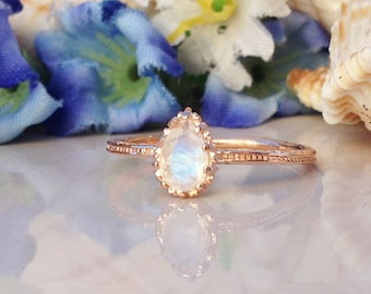 20% off-SALE!!  Rainbow Moonstone Ring - Genuine Gemstone - June Birthstone - Gold Ring - Simple Ring - Stack Ring - Hammered Ring