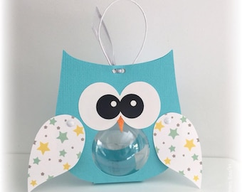 6 boxes with dragees - pool blue OWL ball 5cm wings pattern stars