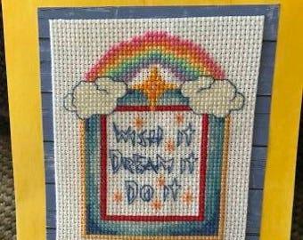 Wish It Dream It Do It Cross Stitched Card