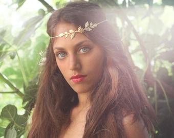 Rosalinda Bridal Hair accessories, Forehead Band, Delicate Golden Leaves Hair Wreath, Gold Leaf Hair Chain, Wedding Headband, Greek Goddess