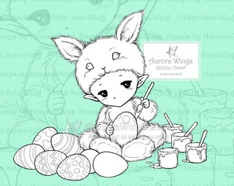 PNG Easter Bunny Sprite - Aurora Wings Digital Stamp - Little Bunny Coloring Eggs - Fantasy Line Art for Arts and Crafts by Mitzi Sato-Wiuff