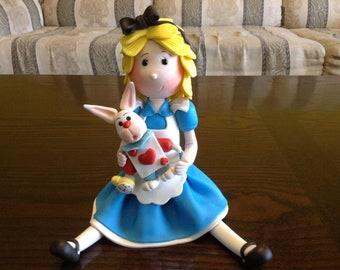 Clay Alice in Wonderland With Rabbit  Figurine Cake Topper/Favor