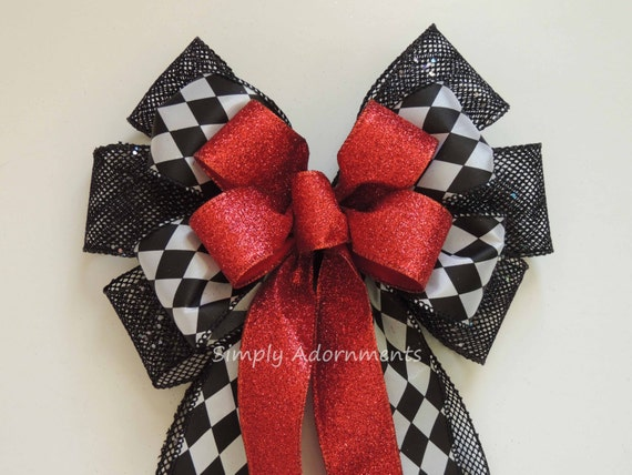 Red Black Harlequin Bow Red Black Harlequin Wreath Bow Black Red Christmas Tree Bow Christmas Theme Red Black Harlequin Door hanger Bow