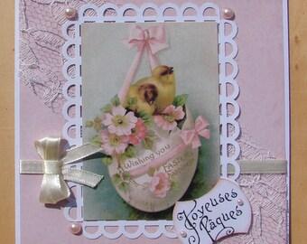 Happy Easter chicks egg white pink vintage image card