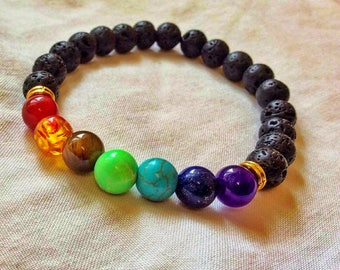 Beautiful 7 Crystal Gemstone and Lava Stone Chakra Bracelet with Gift Pouch - Energy, Yoga, Meditation & Healing Jewellery - Male + Female