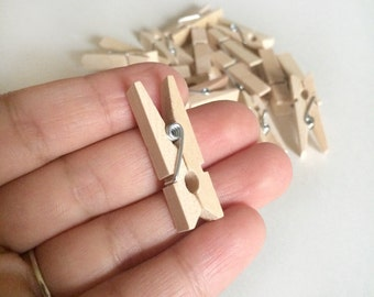 20 mini clothespins - natural wood mini clothes pin - small photo wood clip - wedding favors - baby shower - party favor - embellishment