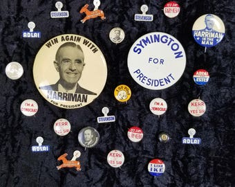 24 Vintage Political Buttons, Tin Tabs, Mostly Democratic, 1940s, 1950s & 1960s, Adlai Stevenson, Averell Harriman