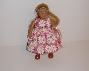 Handmade clothes. Cute print dress for Mini American girl doll 6 1/2 inch