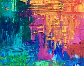 "Rainbow scratches - Abstract oil painting on canvas board 5""x7"""