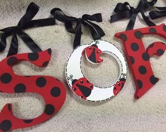 Lady bug - Ladybug - hand painted - custom - wooden nursery hanging wall letters