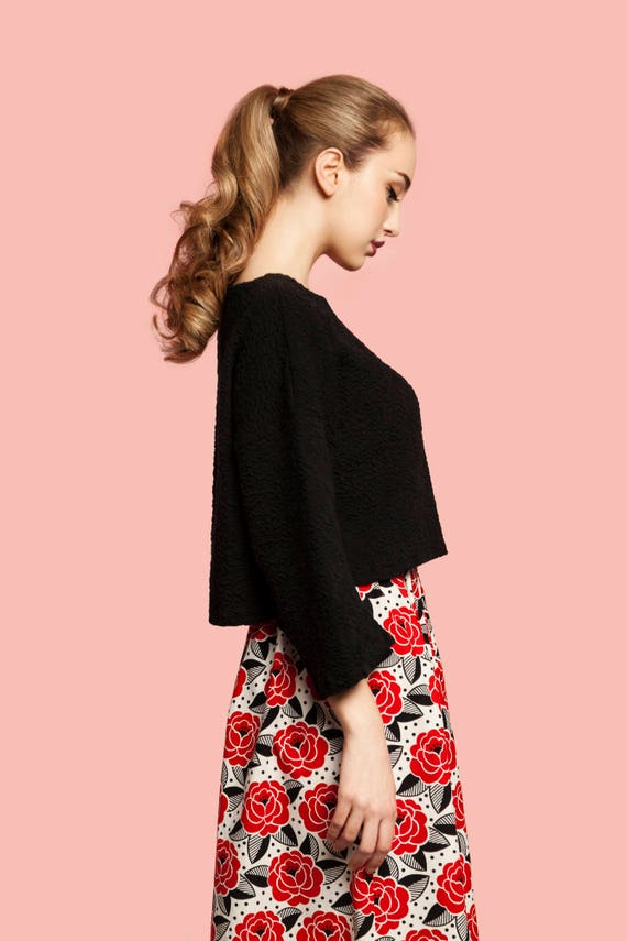 Rosas rojas de la vieja escuela de algodón falda midi / midi