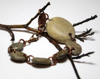 Bijoux pierre terreuse Bracelet véritable foré Riverstone galets perles bijoux - Collection authentique par Allybeans