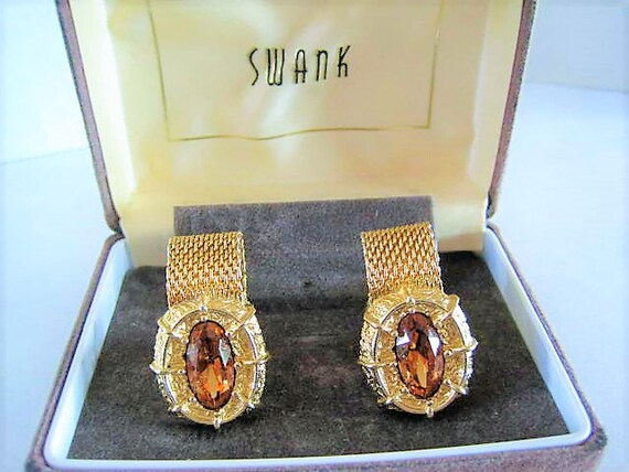 Swank Topaz Cuff Links, Gold Mesh, Collectible 60's Mens, Original Box, Gift for Father