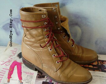 Vintage Justin High Top Ankle Boots / Size 7 m Eur 37 .5 Uk 4 .5  / Leather Granny Western Oxford Lace Up / Olive Tan made USA