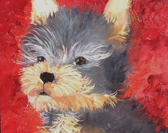 Small Original Oil Painting of Yorkie Puppy
