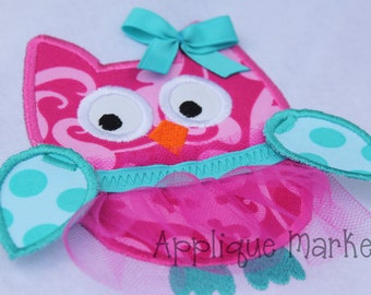 Machine Embroidery Design Applique Owl with Tulle Tutu INSTANT DOWNLOAD