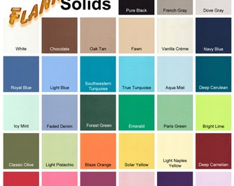 OUR BEST Yarn-dyed Solid Color Cotton Flannel Fabric By the Yard - Choose from 33 Colors