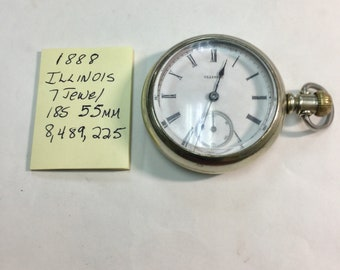 1881 Illinois Pocket Watch 7J 18S 55mm Running