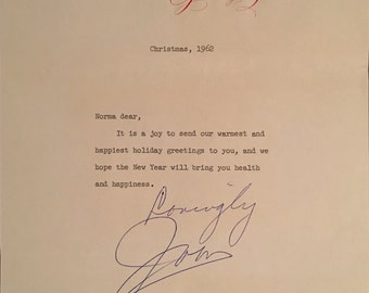 Christmas Letter from JOAN CRAWFORD to Norma Koch Hand-Signed