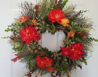 Faux succulent wreath/summer wreath/spring wreath/ front door wreath/ door wreath/ housewarming wreath/housewarming gift