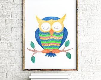 Owl painting, owl nursery decor, owl wall art, owl art print, nursery wall art, baby boy nursery painting, nursery wall decor, animal print