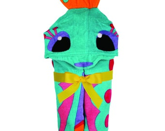 Stephen Joseph Shark Hooded Towel Personalized. Butterfly, Mermaid, Pirate, Dolphin, Octopus, Crab, Clown fish, Jellyfish