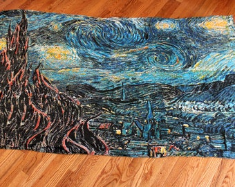 Van Gogh Starry Night Tapestry. Van Gogh Art Home Decor. Van Gogh Starry Night Wall Hanging. Van Gogh Painting Gift. Art Tapestry Gift
