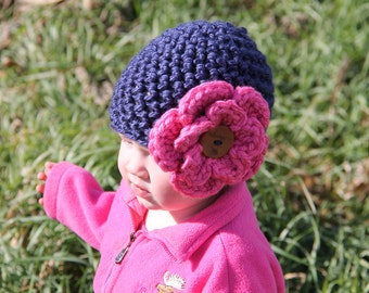 The Sophia Hat, Crochet Hat, Chunky Beanie, Interchangeable Flower, Chunky Flower