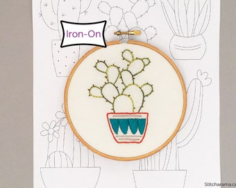 Cactus Collection • Iron On Hand Embroidery Pattern Transfer • Cactus Embroidery Pattern Sampler • Hoop Art
