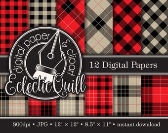 Lumberjack Flannel Digital Paper | Hunter Plaid  Pattern Paper | Buffalo Check Pattern Paper | Tartan Scrapbook Paper | Masculine Paper
