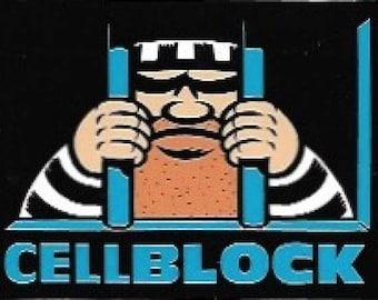 Cellblock Vinyl Sticker, Skateboarding, Vintage Skateboard Sticker, 1990s