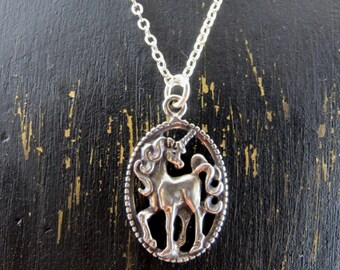 Unicorn necklace, sterling silver unicorn necklace, Unicorn pendant, fantasy necklace, mythical creature