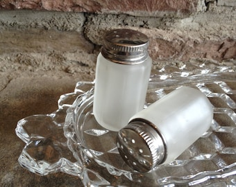 Frosted Glass Salt & Pepper Shakers Tiny White Small Vintage Set