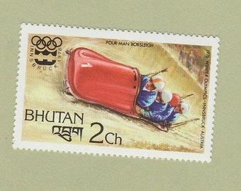 Four-Man Bobsleigh Stamp Winter Olympics 1976 Bhutan