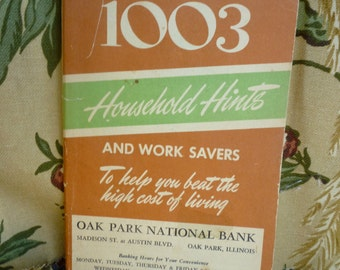 Household Hints  Oak Park National Bank~ Oak Park Illinois~1003 Household Hints,