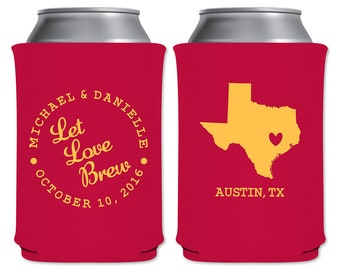 Neoprene Collapsible Custom Can Cooler Beverage Insulator Personalized Wedding Favors | Let Love Brew | Custom State Map | READ DESCRIPTION