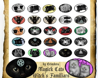 Cats Witch Familiars 30 x 45 mm Ovals, Instant Digital Download Printable Collage Sheet