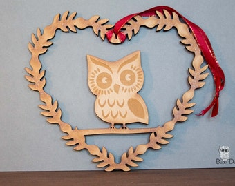 Owl heart wreath - Hanging wreath decoration - owl wreath