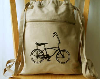 Bicycle Canvas Backpack Bike Laptop Bag Gym Bag