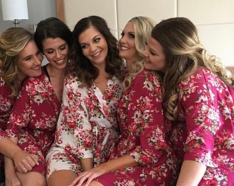 Bridesmaid Robes, Bridesmaid Gift, Cotton Bridesmaids Robes, Kimono Robes, Bridal Party Robes, Wedding Robe, Floral Bridesmaids Robes