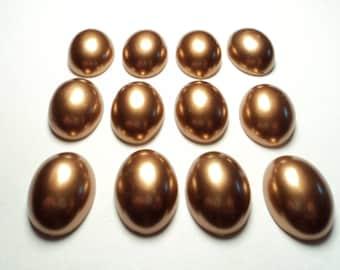 12 pcs. - 25 x 18mm oval Plastic bronze colored cabachons - m101