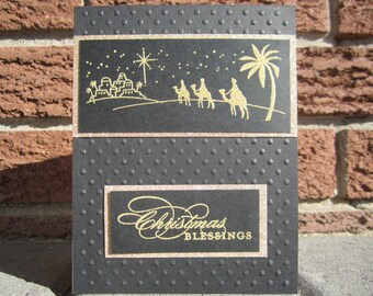 Christmas Blessings Card (Gold - Dots)