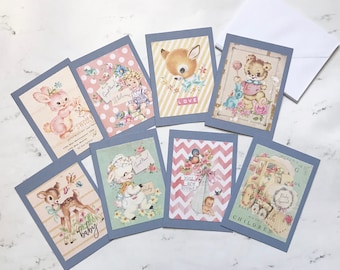 Baby Note Cards w/Envelopes, Vintage Baby Greeting Cards set of 8- Welcome Home Baby Cards