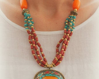 Antique Tibet Nepal Oval pendant Necklace Vintage look Bohemian Resin Amber beads Red coral Greenish blue Turquoise and brass necklace